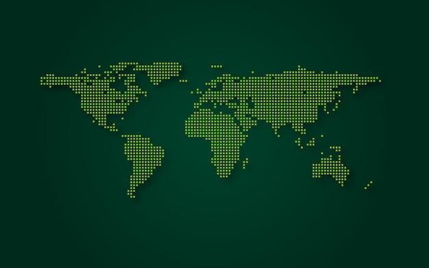 Fondo futuristico di tecnologia dell'estratto della mappa di mondo verde