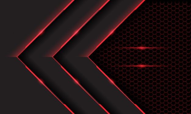 Fondo futuristico di tecnologia della maglia di esagono scuro della freccia chiara cibernetica grigia rossa tripla.