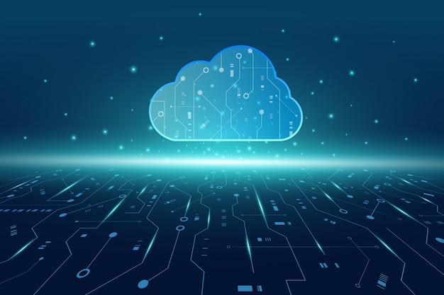 Fondo futuristico di tecnologia moderna della nuvola con il circuito