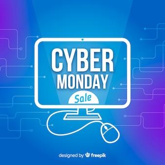 Fondo futuristico di vendita di lunedì cyber con gli effetti al neon