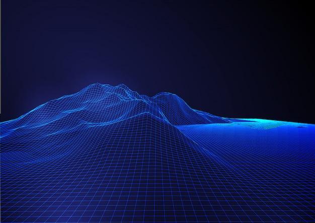 Fondo futuristico moderno astratto con il paesaggio dettagliato del terreno del wireframe