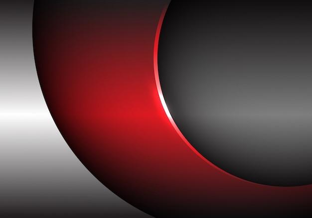Fondo futuristico moderno della curva metallica grigia rossa.