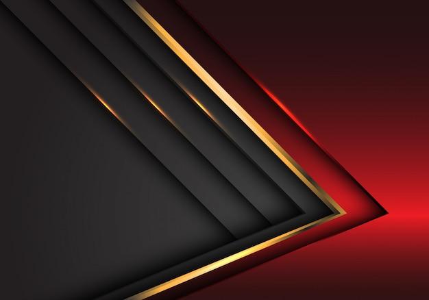 Fondo futuristico moderno di progettazione di sovrapposizione di lusso metallica dell'oro grigio rosso astratto