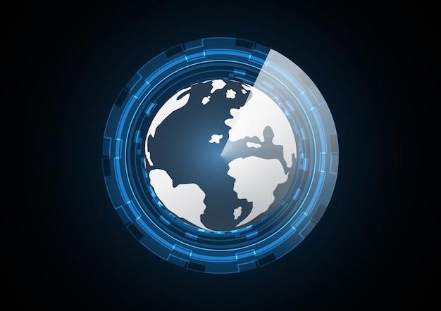 Fondo futuro astratto del radar del cerchio della terra di tecnologia