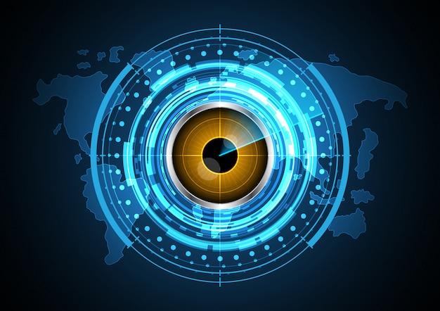Fondo futuro astratto della mappa di mondo del radar del cerchio dell'occhio di tecnologia