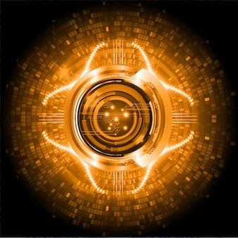 Fondo futuro di concetto di tecnologia del circuito cyber arancio