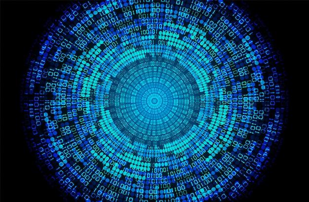 Fondo futuro di concetto di tecnologia del circuito cyber binario dell'occhio azzurro