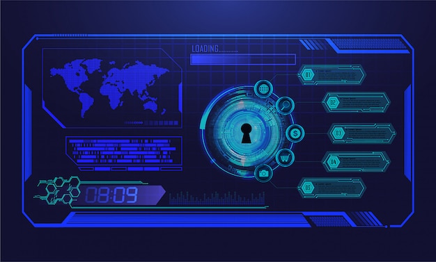 Fondo futuro di concetto di tecnologia del circuito cyber blu del mondo di hud