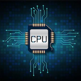 Fondo futuro di concetto di tecnologia del circuito cyber blu della cpu