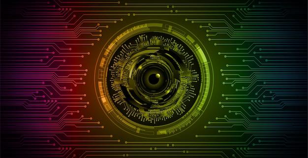 Fondo futuro di concetto di tecnologia del circuito cyber dell'occhio blu verde rosa