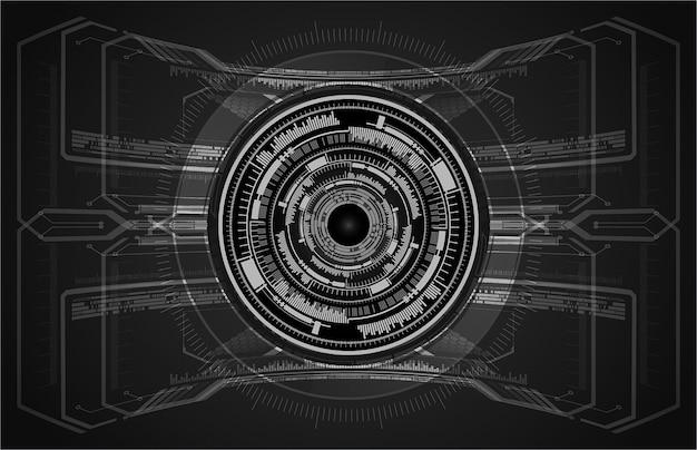 Fondo futuro di concetto di tecnologia del circuito cyber dell'occhio nero