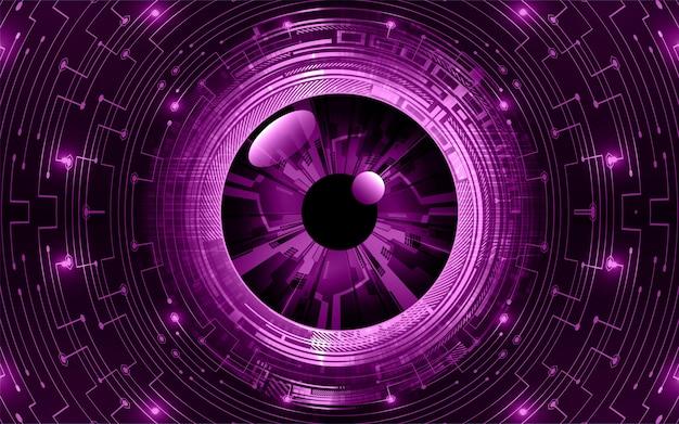 Fondo futuro di concetto di tecnologia del circuito cyber dell'occhio porpora