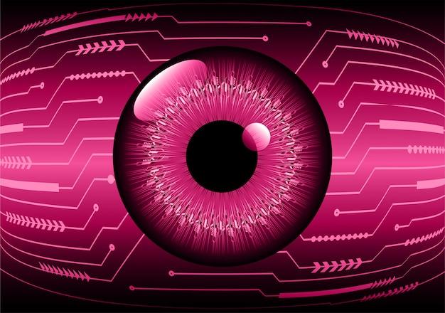 Fondo futuro di concetto di tecnologia del circuito cyber dell'occhio rosa