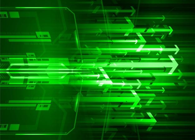 Fondo futuro di concetto di tecnologia del circuito cyber della freccia verde
