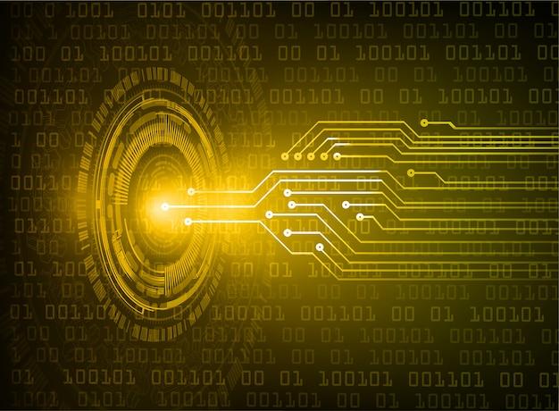 Fondo futuro di concetto di tecnologia del circuito cyber giallo