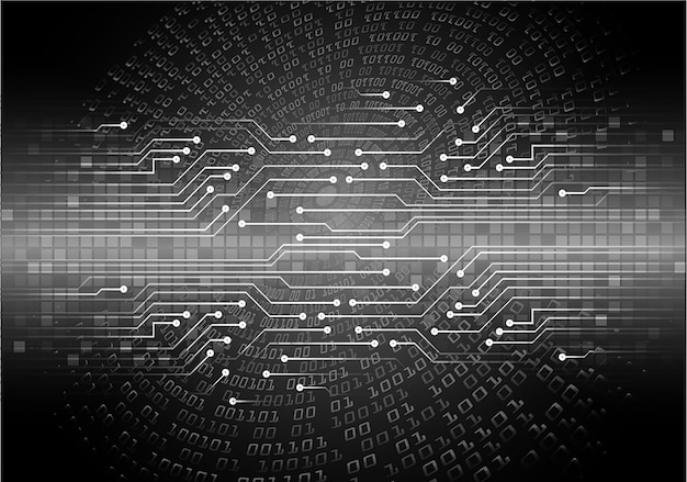 Fondo futuro di concetto di tecnologia del circuito cyber nero