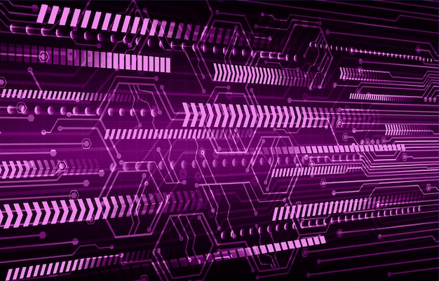 Fondo futuro di concetto di tecnologia del circuito cyber porpora della freccia