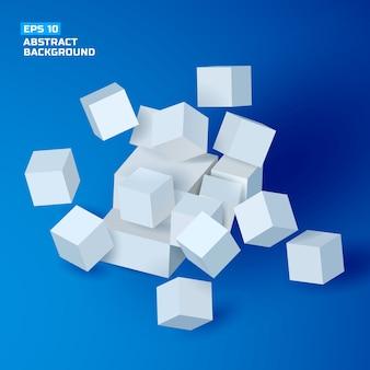Fondo geometrico astratto con i cubi grigi 3d