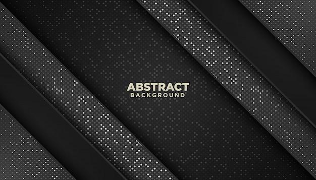 Fondo geometrico astratto nero con decorazione elemento puntini luccica