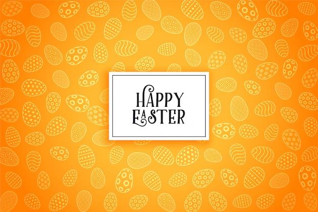 Fondo giallo felice del modello delle uova di pasqua