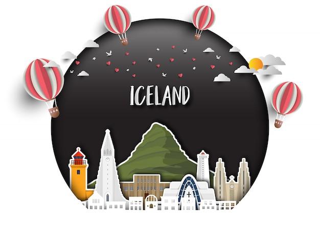 Fondo globale della carta di viaggio e di viaggio del punto di riferimento dell'islanda