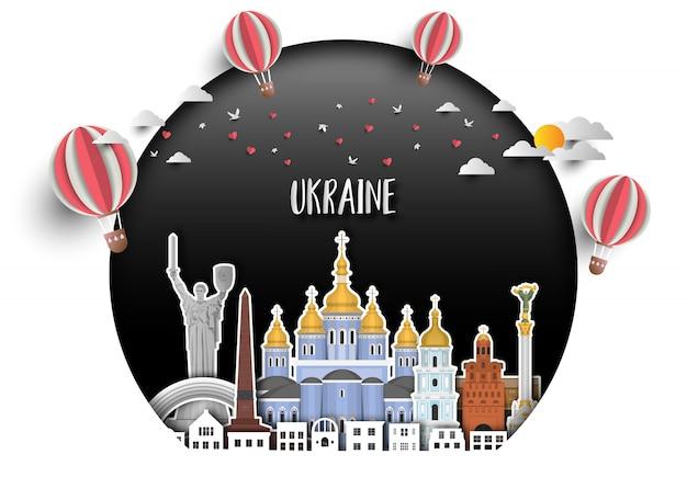 Fondo globale della carta di viaggio e di viaggio del punto di riferimento dell'ucraina.
