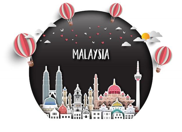 Fondo globale della carta di viaggio e di viaggio del punto di riferimento della malesia