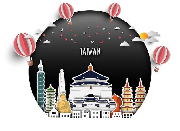 Fondo globale della carta di viaggio e di viaggio del punto di riferimento di taiwan.