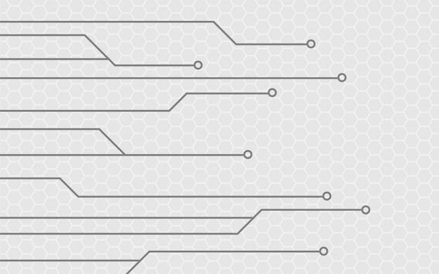 Fondo grigio astratto con struttura del circuito di tecnologia