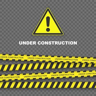 Fondo in costruzione con bordi a strisce nere e gialle