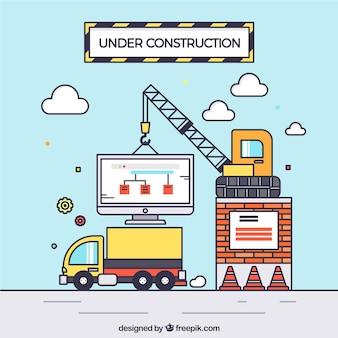 Fondo in costruzione disegnato a mano