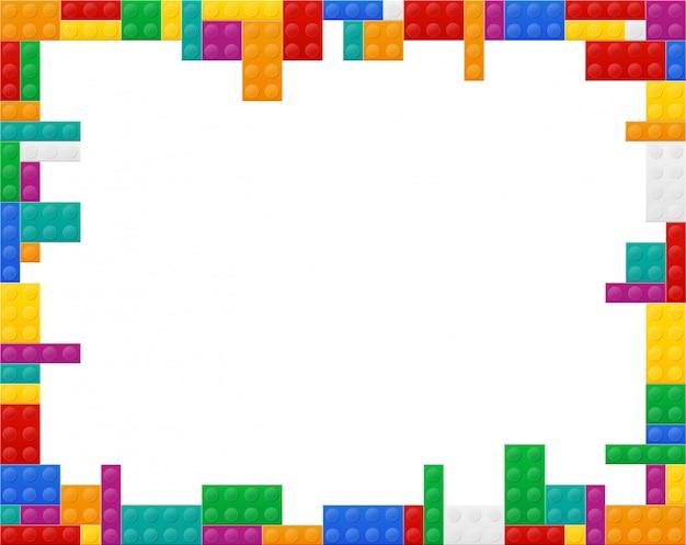 Fondo incorniciato una vista piana dell'illustrazione di plastica colorata di vettore del costruttore