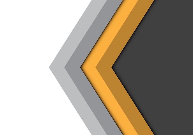 Fondo isolato direzione grigia gialla della freccia.