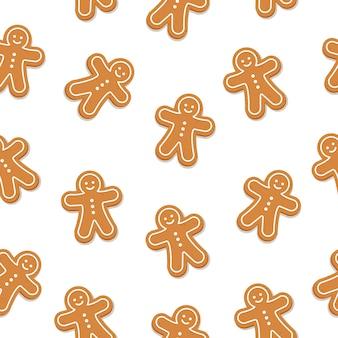 Fondo isolato modello senza cuciture del biscotto dell'uomo di pan di zenzero