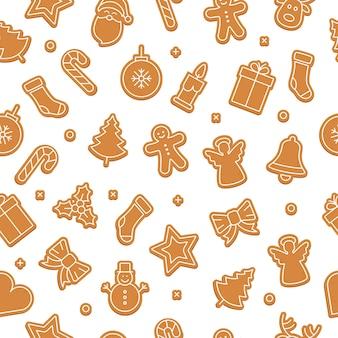 Fondo isolato modello senza cuciture stabilito del biscotto del pan di zenzero