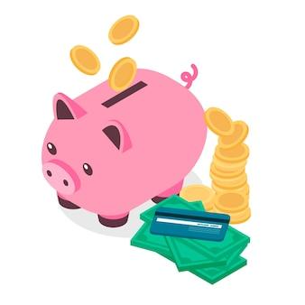 Fondo isometrico del porcellino salvadanaio