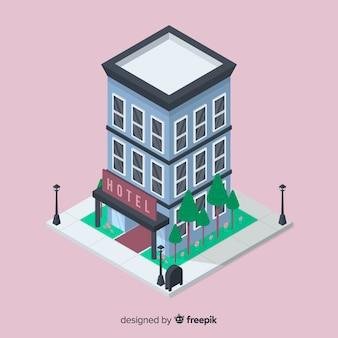 Fondo isometrico della costruzione dell'hotel