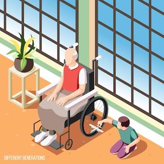 Fondo isometrico delle generazioni differenti con l'uomo senior in sedia a rotelle che guarda giocando l'illustrazione del nipote