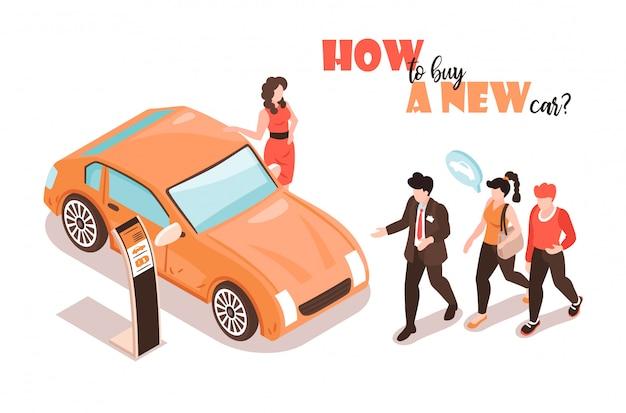 Fondo isometrico dello showroom dell'automobile con le immagini della cabina di mostra dell'automobile con l'illustrazione femminile del gestore e del modello di modello