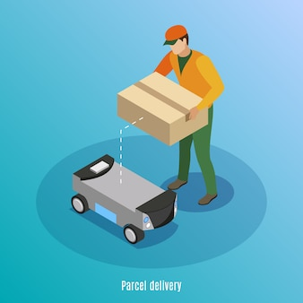 Fondo isometrico di consegna del pacchetto con la scatola di caricamento del lavoratore maschio con le merci nell'illustrazione robot dell'automobile dell'azionamento di auto