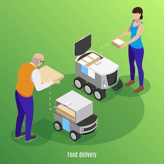 Fondo isometrico di consegna dell'alimento con le scatole di caricamento della gente con pizza e sushi nell'illustrazione robot delle automobili dell'azionamento di auto