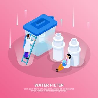 Fondo isometrico di depurazione delle acque con il titolo del filtro dell'acqua e scienziati all'illustrazione del laboratorio