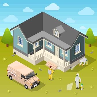 Fondo isometrico di disinfezione della casa