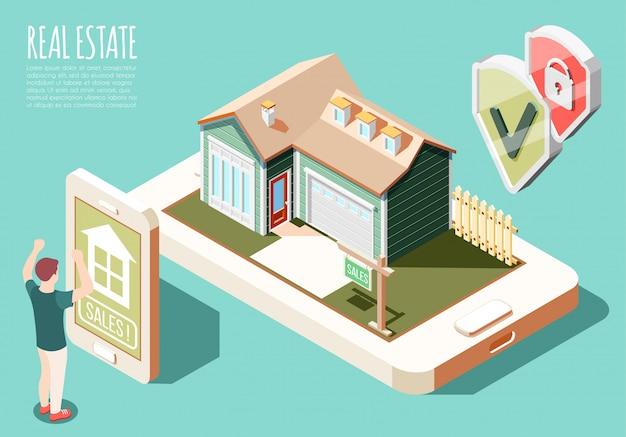 Fondo isometrico di realtà aumentata del bene immobile con l'illustrazione d'acquisto della casa online della pubblicità e dell'uomo