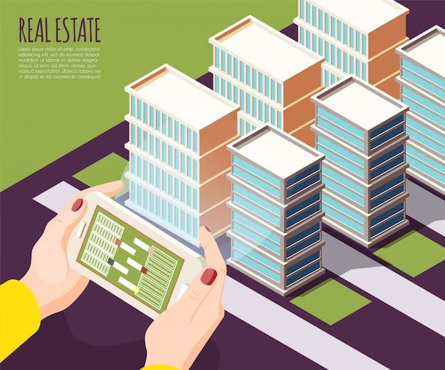 Fondo isometrico e colorato di realtà aumentata del bene immobile con gli appartamenti nell'illustrazione della grande città