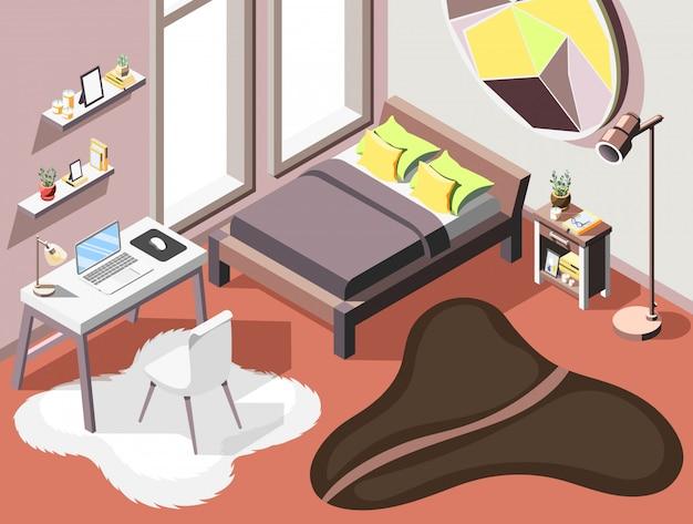 Fondo isometrico interno del sottotetto con composizione interna del letto matrimoniale della mobilia del salone e piccolo posto di lavoro