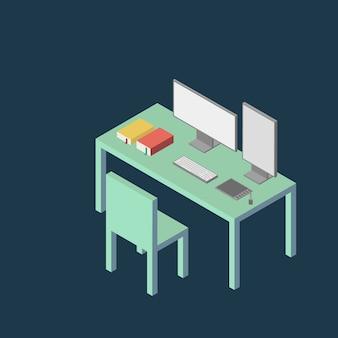 Fondo isometrico piano minimo moderno dell'illustrazione della tabella del computer di stile