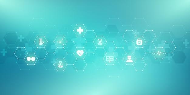 Fondo medico astratto con icone e simboli piani. concetti e idee per la tecnologia sanitaria, medicina dell'innovazione, salute, scienza e ricerca.