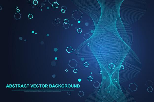 Fondo medico astratto ricerca del dna, molecola, genetica, genoma, catena del dna. concetto di arte di analisi genetica con esagoni, linee, punti. molecola di concetto della rete di biotecnologia, illustrazione