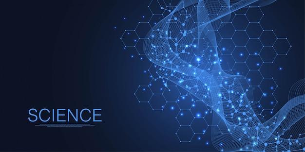 Fondo medico astratto ricerca del dna, molecola, genetica, genoma, catena del dna. concetto di arte di analisi genetica con esagoni, onde, linee, punti. molecola di concetto di rete di biotecnologia,